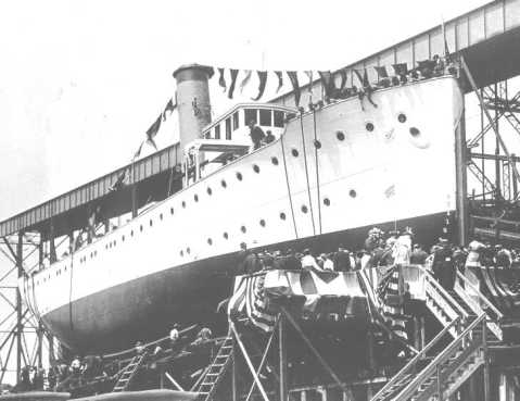 Sister USCGC Ossipee at launch, note the hull shape