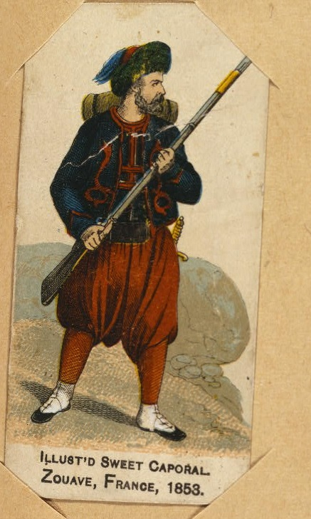 Print shows a French zouave in 1853, wearing uniform and holding rifle, on cigarette card issued by Kinney Tobacco Company as an insert with the Sweet Caporal brand cigarettes.