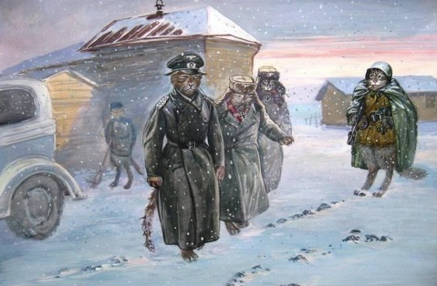 Which leads to the inevitable surrender of cat versions of Friedrich Paulus, General-Feldmarshal (left) and his aides Col. Wilhelm Adam (right) and Lt.-Gen. Arthur Schmidt (middle)