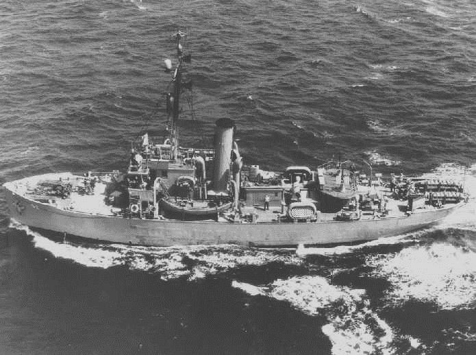 Tallapoosa during WWII, note her extra armament and haze gray. USCG photo