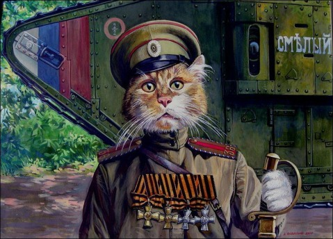 White Russian army officer cat complete with Tsarist cap insignia and shoulder boards. Note all four orders of the Cross of the Knights of St. George across his blouse and the British Mark V series tank behind him-- 60 of these beasts were used by the Whites in the Ukraine with British assistance and went on to become the first Soviet tanks.