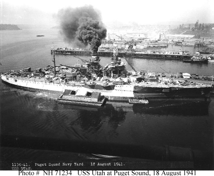 She was in roughly this configuration on the Day that will live in Infamy. Note the 5/38s rear and 5/25s forward. These were covered with heavy wooden 'dog houses' on Dec. 7th