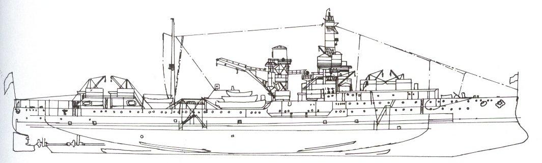 Plan, 1932 Via Navsource, notice one stack, no main guns