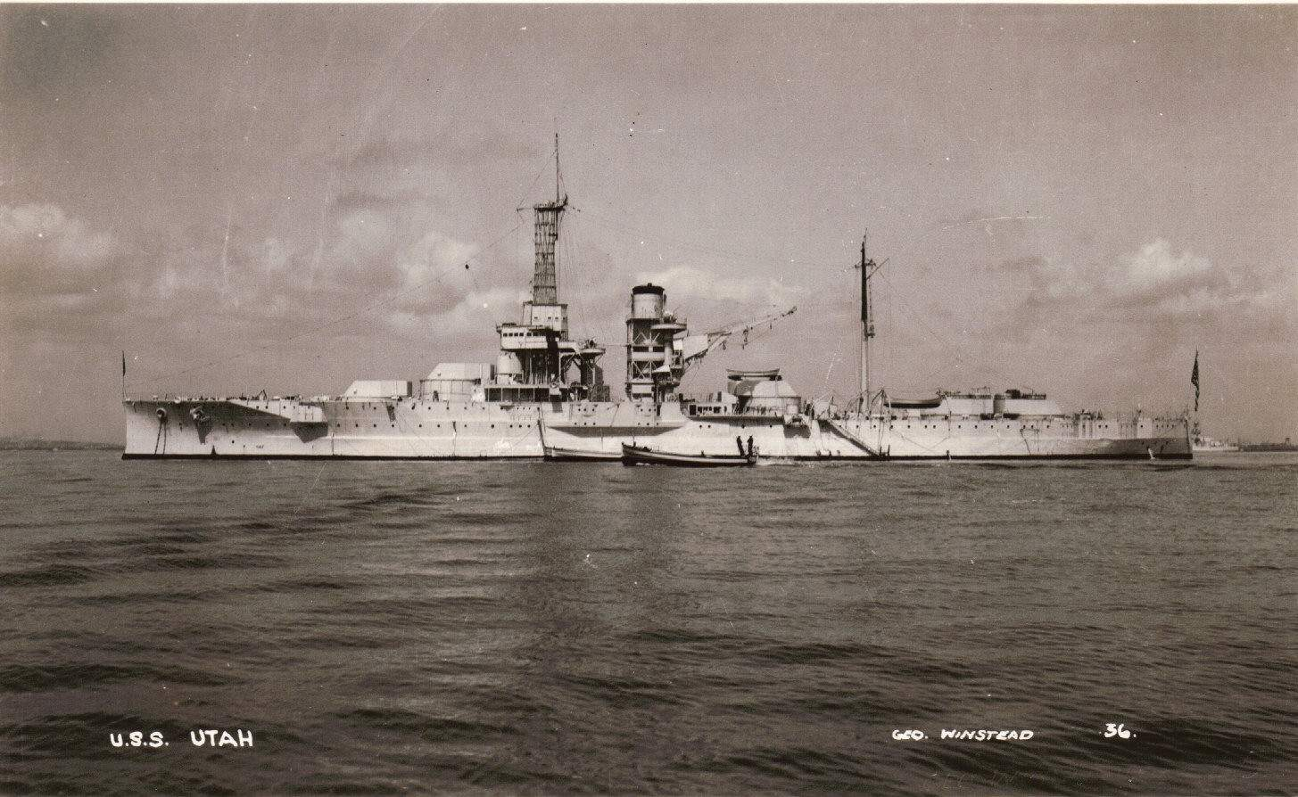 Photographed by George Winstead, probably immediately after her recommissioning on 1 April 1932, when Utah (AG-16) departed Norfolk on to train her engineers in using the new installations and for trials of her radio gear by which the ship could be controlled at varying rates of speed and changes of course maneuvers that a ship would conduct in battle. Her electric motors, operated by signals from the controlling ship, opened and closed throttle valves, moved her steering gear, and regulated the supply of oil to her boilers. In addition, a Sperry gyro pilot kept the ship on course. USN photo courtesy of Robert M. Cieri. Text courtesy of DANFS. Via Navsource