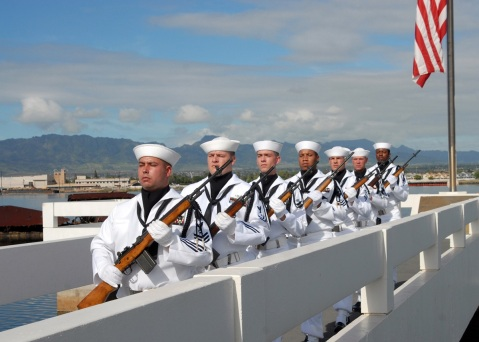 Members of the Navy Region Hawaii Ceremonial Guard march in formation at the conclusion of a ceremony in honor Pearl Harbor survivor Lt. Wayne Maxwell at the USS Utah Memorial on historic Ford Island. Maxwell was a 30-year Navy veteran and former crew member of the farragut-class destroyer USS Aylwin during the Dec. 7, 1941 attack on Pearl Harbor. He was 93.