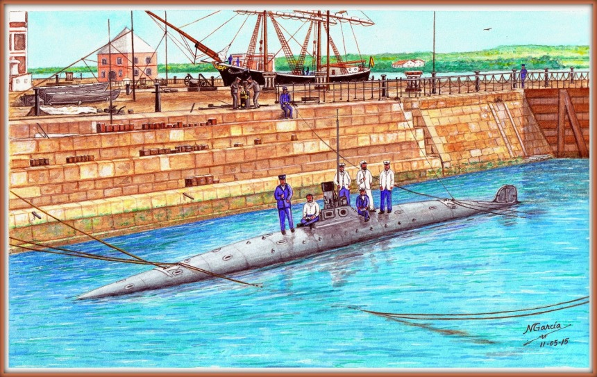 August 7, 1889, at Dock No. 1 ArsenalCádiz) where the submarine Peral appears there I built and launched, with 6 crew members