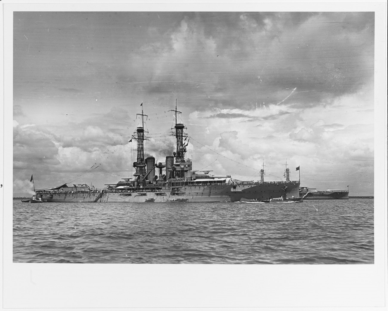Battleship Number 31, USS Utah, at rest in Guatanamo Bay, Cuba, January 1920.