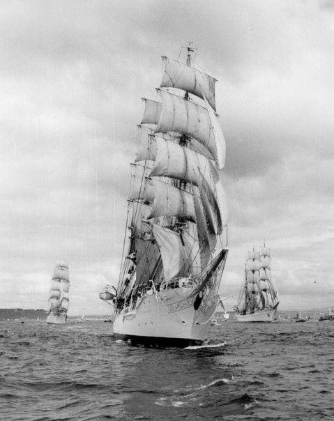 Christian Radich (center), Statsraad Lehmkuhl (left) and Gorch Fock (right) possibly in Plymouth Sound in the 1950's.