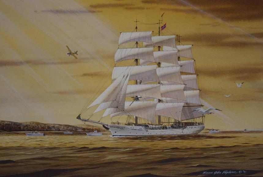 Christian Radich in the Port Of Duluth Painting by Werner Pipkorn
