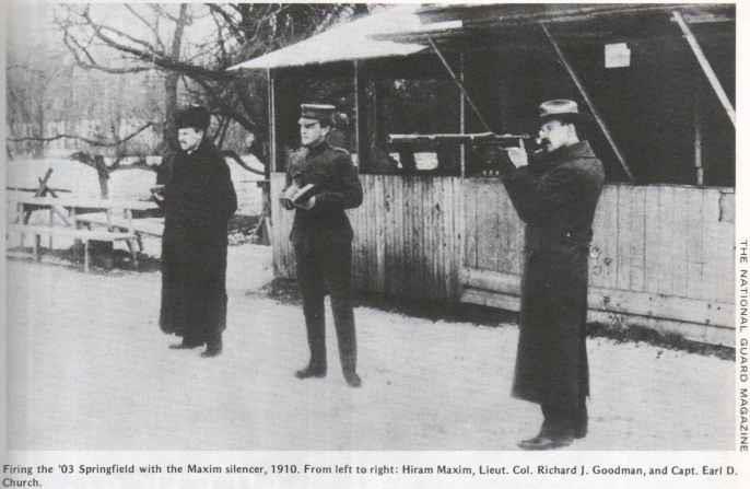 Firing the 03 Springfield with the Maxim silencer, 1910. From left to right Hiram Maxim, Lieut. Col. Richard J. Goodman, and Capt. Earl D Church