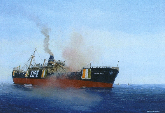 Oil painting by Kenneth King in the National Maritime Museum of Ireland depicting the moments after the SS Irish Oak, a 8500-ton steamer and one of the largest in Irish service, was torpedoed mid-Atlantic by U-607 in 1943-- whose commander later told his bosses he targeted the vessel because he just knew it was a decoy Q-ship.