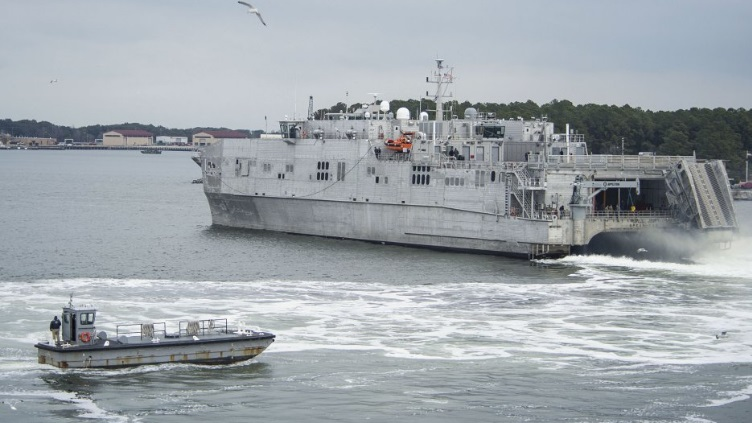 JHSV USNS Spearhead (JHSV 1) departs Joint Expeditionary Base Little Creek-Fort Story on 16 January 2014