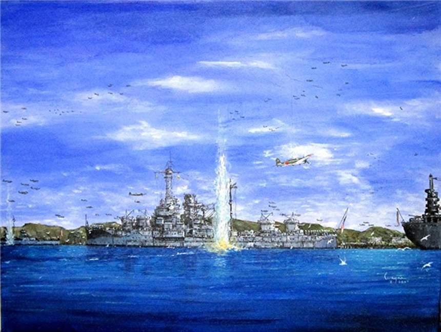 Painting by the artist Wayne Scarpaci showing the Utah (AG-16) being torpedoed