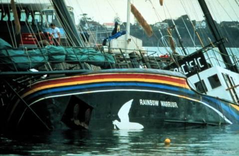 Rainbow Warrior in Auckland Harbour after bombing by French secret service agents. (Annual review 1993-1994 page 2) Accession #: 0.85.072.001.01