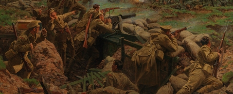 Canadians at the Second Battle of Ypres (Frezenberg) by artist William Barnes Wollen, 1915 in collection of Canadian Military Museum