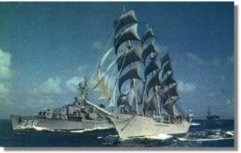 USS Strong DD-758 and The Christian Radich under sail in Windjammer
