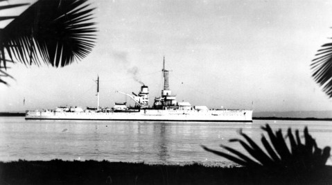 Utah as target ship entering pearl harbor in 1939
