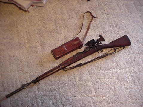 Warner and Swazey M1913 Musket sight scope and Maxim M15 on star-gauge M1903