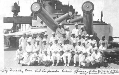 Crew of Turret I on USS Utah B-31 in 1913 U.S. Naval Historical Center Photograph # NH 103835 via Navweaps