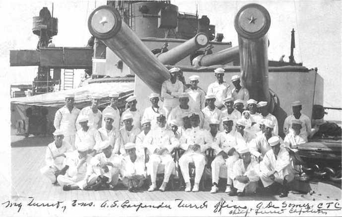 Crew of Turret I on USS Utah B-31 in 1913 U.S. Naval Historical Center Photograph # NH 103835 via Navweaps