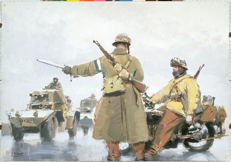 French military gendarmes. Note the breech cover on the MAS rifle