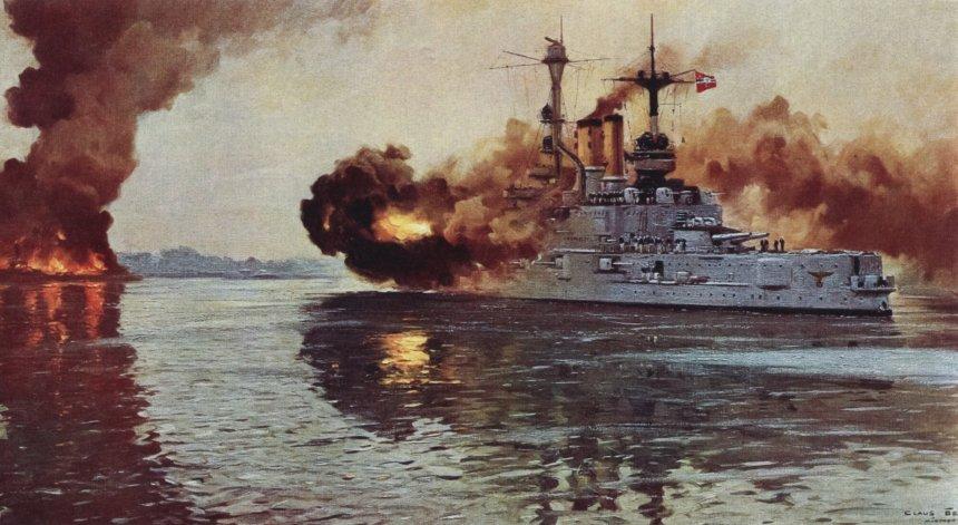 Battleship Schlesig-Holstein on 1st-September 1939 fires the first naval shots of the War at Danzig