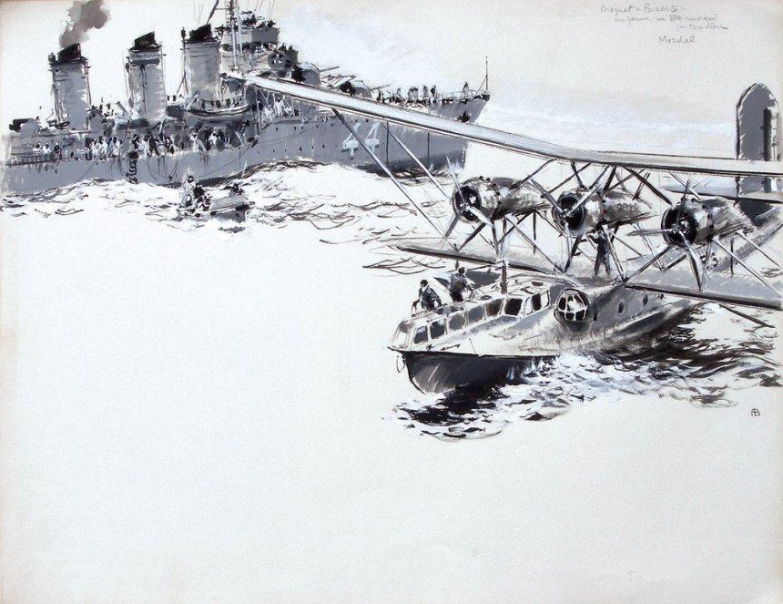 Bréguet 521 Bizerte en panne va être remorqué par torpilleur