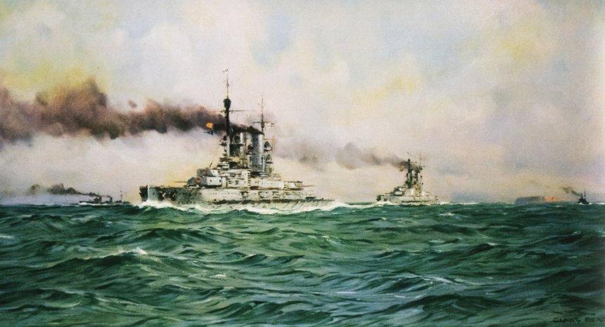 German battleships passing Heligoland