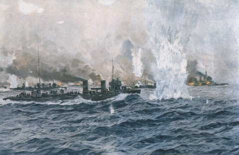 German destroyers attack the British battleship line at Jutland 31 May