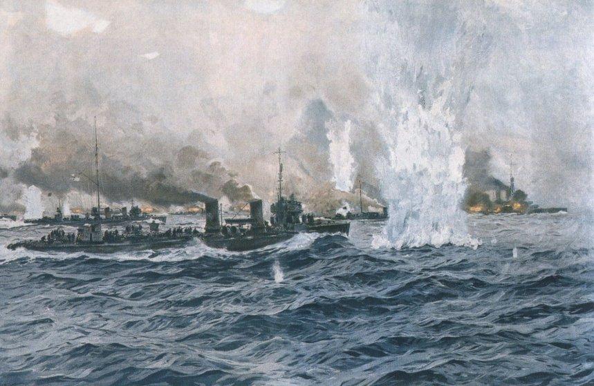 German destroyers attack the British battleship line at Jutland 31 May