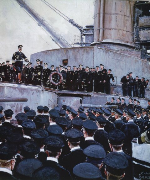 The Kaiser addressing the High Seas fleet after Jutland