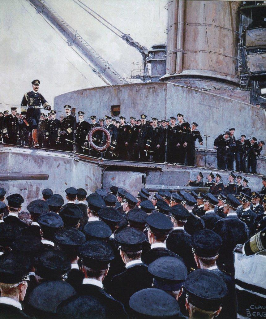 The Kaiser addressing the High Seas fleet after Jutland