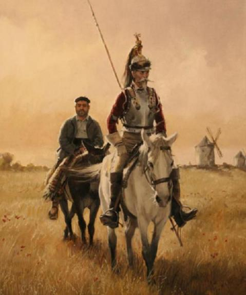 Don Quijote de la Mancha coracero y Sancho Panza
