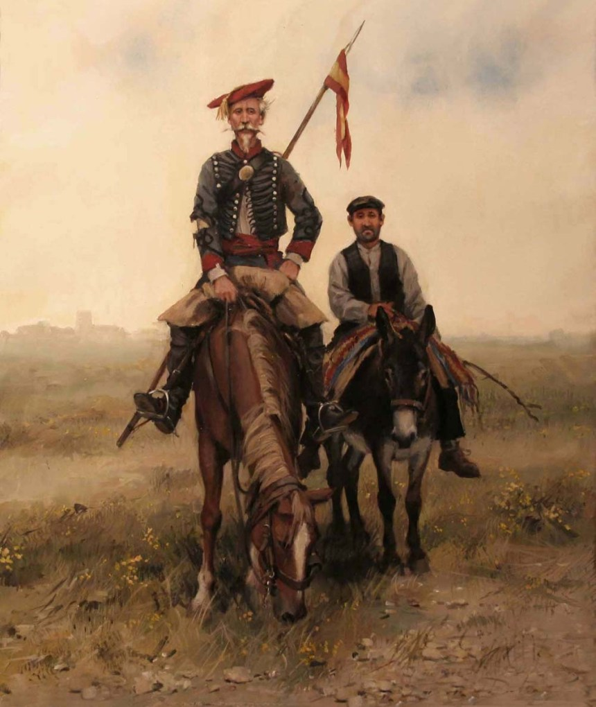 Don Quijote de la Mancha in his uniform carlista y Sancho Panza Augusto Ferrer-Dalmau