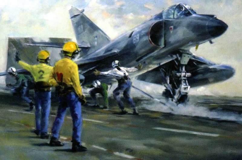 Super Etendard launching, 1991, Foch