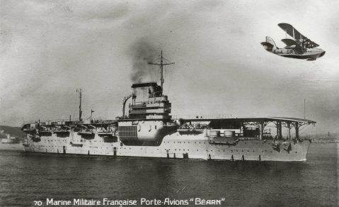 French aircraft carrier Béarn, the only aircraft carrier produced by France until after World War II, and the only ship of its class built