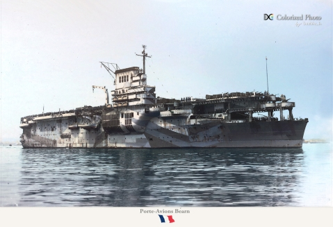 Bearn after her WWII American refit. Note the casemates are empty and a number of AAA guns are fitted as are emergency rafts and liberal camo. Note stored planes on deck Photo colorized by irootoko_jr http://blog.livedoor.jp/irootoko_jr/