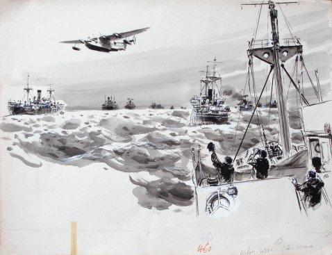 Hydravion survolant un convoi maritime