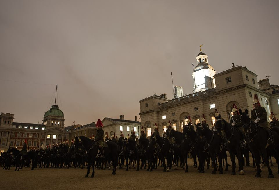 King's Troop Royal Horse Artillery, The Household Cavalry Mounted Regiment and their Band 0300 practicse