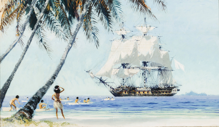 Le Bougainville arrivant à Tahiti
