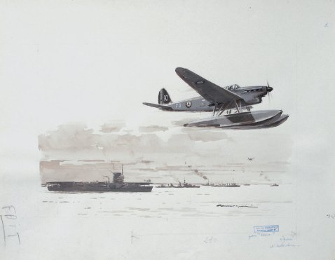 """Le porte-avion Bearn et un latecoère 298""by Albert Brenet"