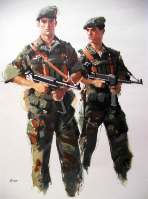 French Marins commandos, 1960s, note MAT-49 subguns