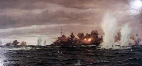 Prinz Eugen at Denmark Strait Painting by Claus Bergen