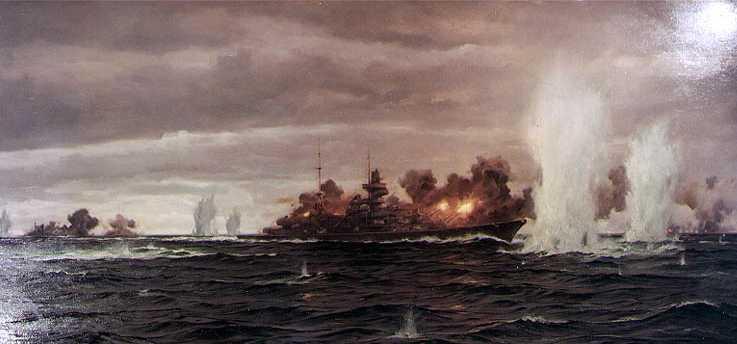 Prinz Eugen at Denmark Strait Painting by Claus Bergen