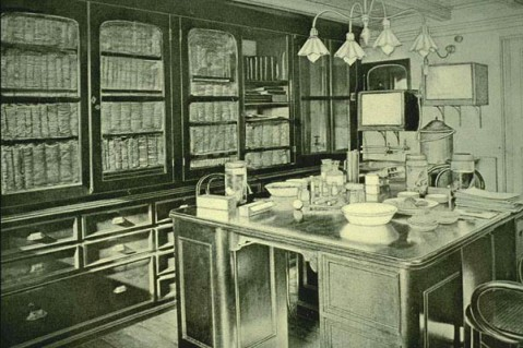 Upper laboratory on the U.S.S. Albatross, 1900