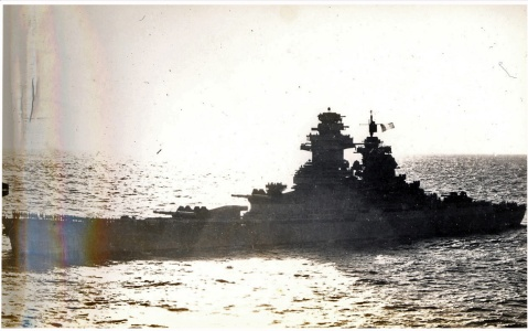 Battleship Richelieu seen from USS Saratoga (CV-3), during operations with the Royal Navy in the Indian Ocean, 1944