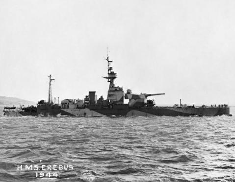British monitor HMS Erebus at a buoy in Plymouth Sound. IWM