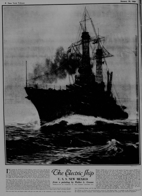 GE ad from the Electric Ship painting, published 1920