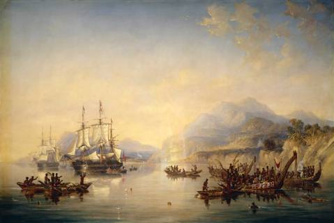 'Erebus' and the 'Terror' in New Zealand, August 1841, by John Wilson Carmichael.