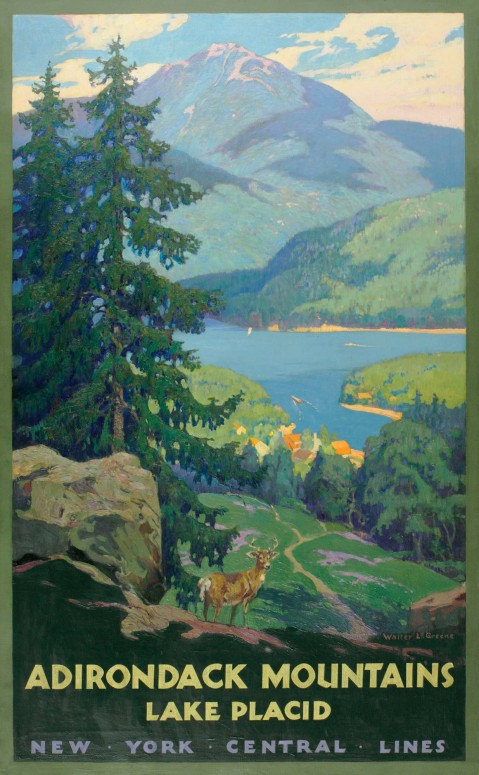 One of several original oil paintings by Schnectady artist Walter L. Greene commissioned by the New York Central Railroad to be reproduced as a travel poster advertising passenger service to the Adirondacks and Lake Placid, New York.
